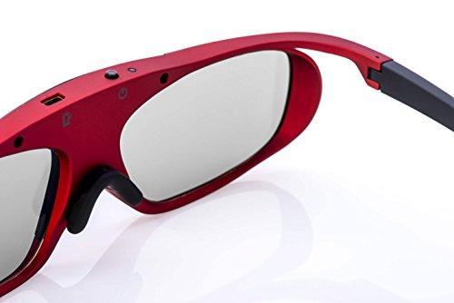 2X Hi-SHOCK® RF / BT Pro Scarlet Heaven & Dualcase| Aktive 3D Brille für 3D TVs von Sony, Samsung, Panasonic | komp zu TY-ER3D5ME / TY-ER3D6ME / FPT-AG03G [120 Hz | Bluetooth | wiederaufladbar]