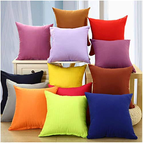 Coliang 2021 Candy Solid Color Throw Pillow Case Fashion Cushion Sofa Bed Office Spandex Supersoft Back Cushion Two Sides Pillow Cover 18x18 Inch (45x45CM) - Bright Red