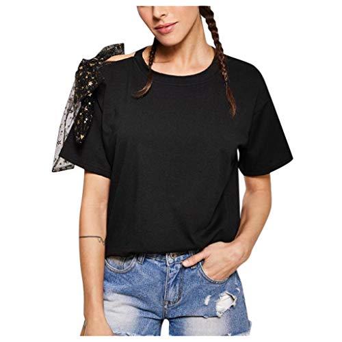 Hevoiok Damen Sommer Kurzarm-Shirt Blume Sexy Spitze Bluse Oberteile Neu Frauen Casual Rundhals Shirt Tops (Schwarzer, M)