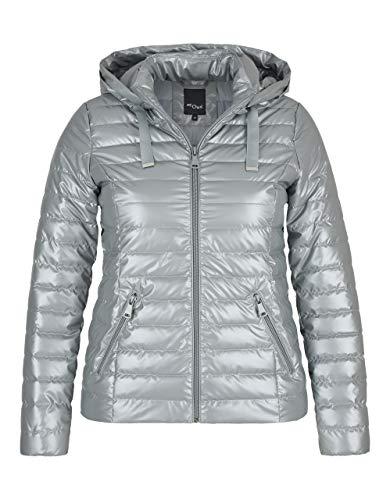 My Own by Adler Mode Damen Steppjacke mit Kapuze und leichtem Glanz Silber 42