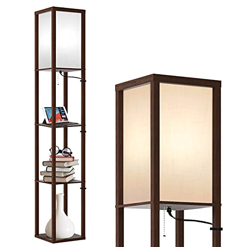 Outon Floor Lamp with Shelves, 3 Color Temperature, LED Column Modern Floor Lamp with Pull Chain, Display Storage Standing Lamp with White Linen Shade for Living Room, Bedroom, Office, Walnut