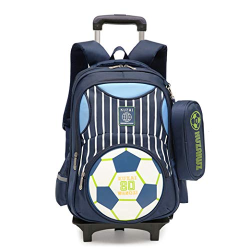 Zaino per trolley con stampe di calcio elementare Zaino per scuola di calcio per bambini Borsa per libri con ruote primarie con astuccio per bambini (2 colpi di flash)-blue