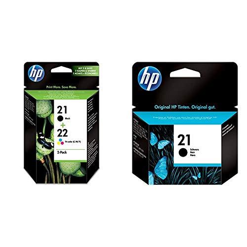 HP 21-22 Combo Pack Sd367Ae Confezione Da Due Cartucce Originali Per Deskjet Serie D1000, D2000, F2000, F300, F4000 E Officejet Serie 4000 & 1 C9351Ae Inkjet Print Cartridge, 150 Pagine, Nero