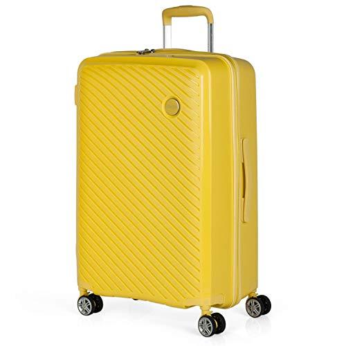 ITACA - Maleta de Viaje Mediana 4 Ruedas Trolley. 65 cm rígida de Polipropileno. práctica cómoda Ligera Marca. candado TSA. 760060, Color Amarillo