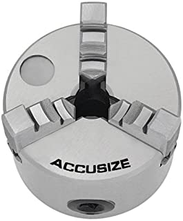 Accusize Industrial Tools 3''/80 mm 3-Jaw Chuck, Plain Back, 0.630'' Center Hole, 0559-0110