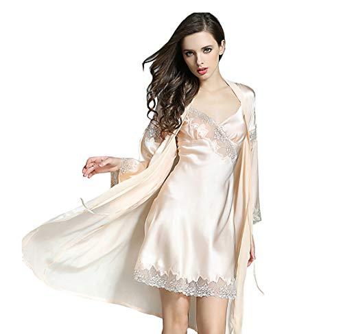 LSHARON Damen Sexy 100% Maulbeerseide Spitze Pyjama Sling Nachthemd und Bademantel Set 19 Momme reine Seide Gr. 38, champagnerfarben
