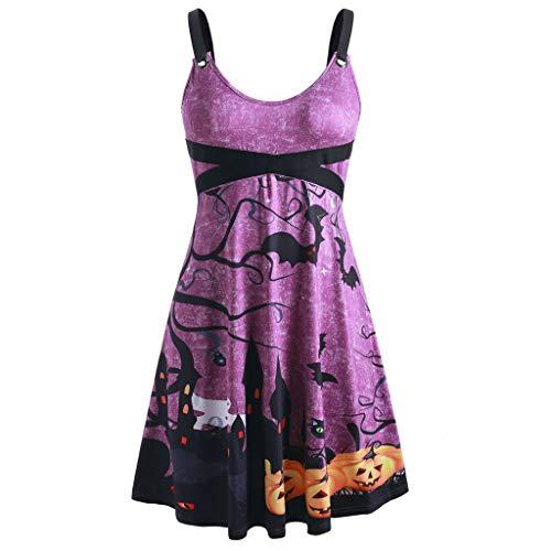 TOFOTL - Vestido de Noche para Mujer, Estilo de Vendimia, de Gran tamaño, sin Mangas, para Halloween, murciélago, Calabaza, Fiesta, Festival Morado XL