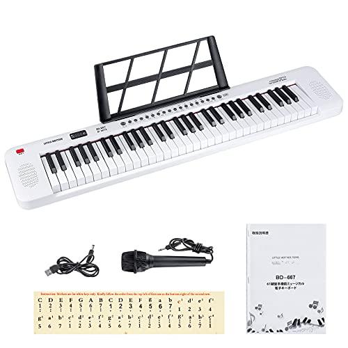 電子キーボード61鍵盤 キーボード ピアノ日本語表記 200種類音色 200種類リズム LCDディスプレイ搭載 キーボード楽器 光る鍵盤 子供 初心者 練習用 日本語取扱説明書付き