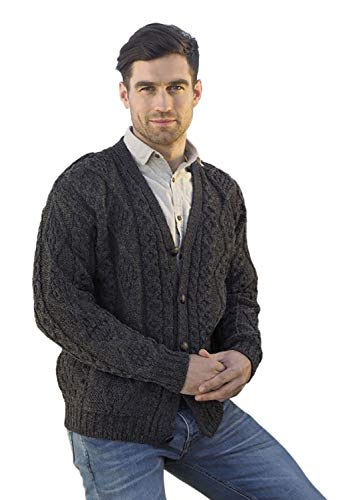 100% Irish Merino Wool V-Neck Button Aran Sweater by West End Knitwear (Charcoal, Small)