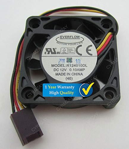 CYRMZAY Compatible para EVERFLOW 40 * 40 * 10MM R124010DL DC12V 0.10A 3Pin Ventilador