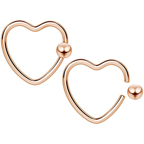 2pc 16g 1.2mm Heart CBR Hoop Captive Bead Ring Cartilage Bar Daith Rook Tragus Helix Rose Gold Conch Auricle