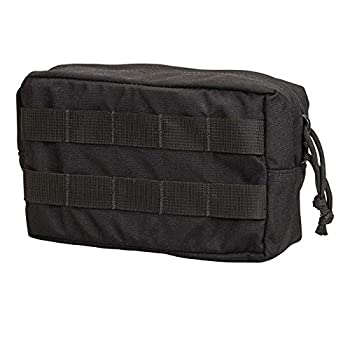 Chase Tactical General Purpose Small Utility Pouch – Horizontal Lightweight Fully Adjustable – Attaches with Upright MOLLE – for Military Law Enforcement Medical Combat Training Black Medium