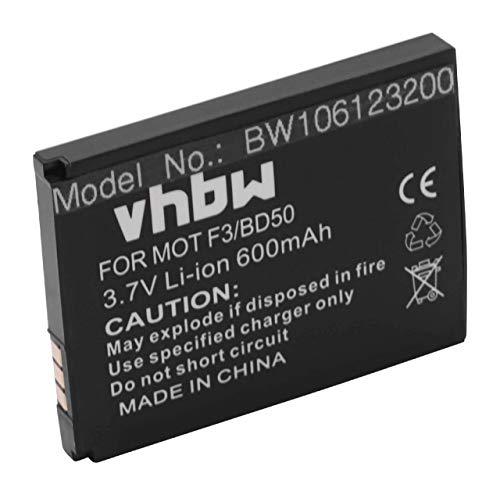 vhbw Li-Ion Akku 600mAh (3.7V) kompatibel mit schnurlos Festnetz Telefon Motorola Motofone F3, AVM Fritz! Fone MT-F, M2 Ersatz für 312BAT006, 100402.