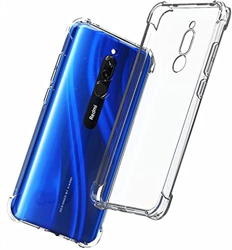 YaMiDe Funda Xiaomi Redmi 8, con Dos Protectores de Pantalla, parachoque colchón de Aire, Funda de TPU Suave y Transparente