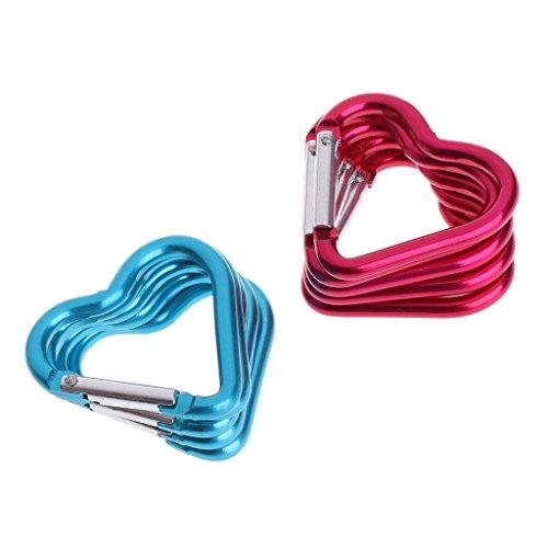Haia7k4k Porte-clés mousqueton 10 anneaux en aluminium en forme de cœur avec crochet pour escalade, camping, extérieur