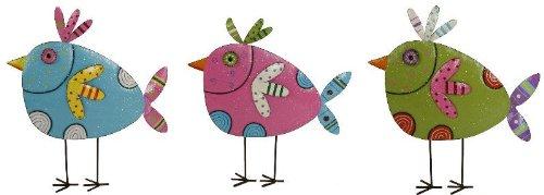 Vogel gartenstecker ohne Stick Metall mit Glitzer Garten Deko blau
