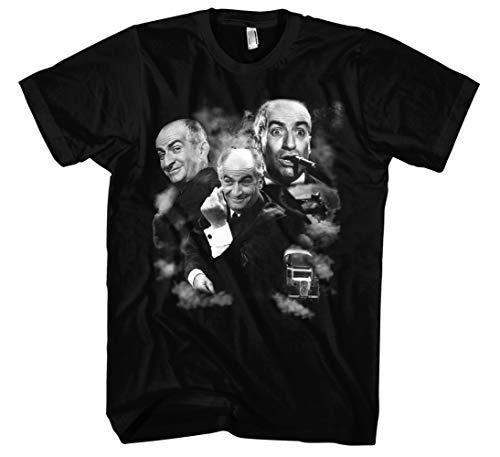 Louis de Funes Männer und Herren T-Shirt | Vintage Balduin Fantomas Retro Kult (L, Schwarz Druck:Weiß)