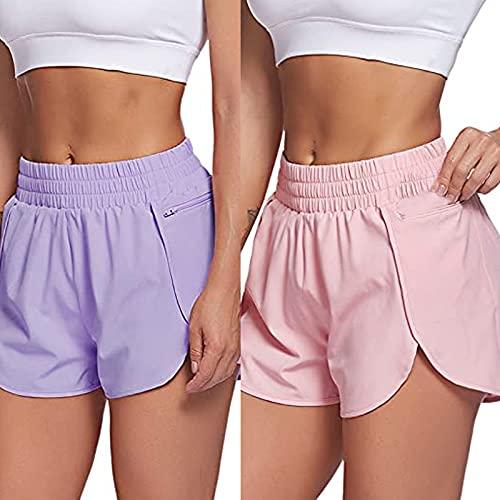 Anjikang 2PC Womens Workout Shorts Zip Pocket Elastic Waist Solid Athletic Running Yoga Fitness Pants Gym Exercise Shorts