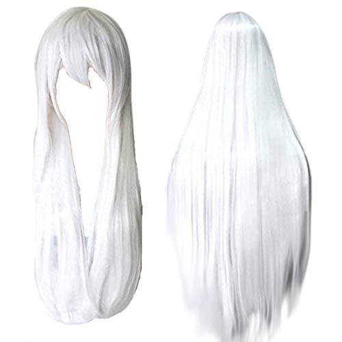 HappyBus Inuyasha Cosplay Inuyasha Cosplay Wig 32 inches Long Straight Wigs Halloween Anime Cosplay (White)