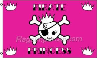AZ FLAG Drapeau Pirate Princesse 150x90cm - Drapeau Corsaire tête de Mort 90 x 150 cm - Drapeaux