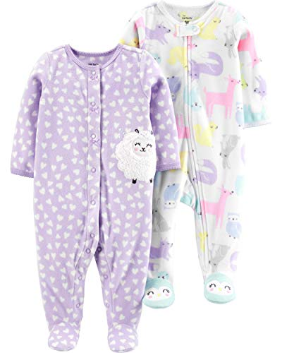 Carter's Baby Girls 2-Pack Fleece Footed Sleep and Play, Woodland Animals/Purple Sheep, 6 Months