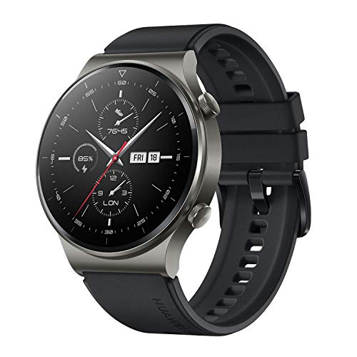 HUAWEI WATCH GT 2 Pro Smartwatch, 1,39 Zoll AMOLED HD-Touchscreen, 2 Wochen Akkulaufzeit, GPS & GLONASS, SpO2, 100+Trainingsmodi, Bluetooth-Anrufe, Herzfrequenzmessung, Night Black