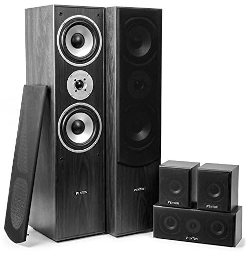 Skytronic Fenton 5.0 - Système Enceintes Home cinéma - Noir, Puissance 335 W, Pack de 5 Enceintes...