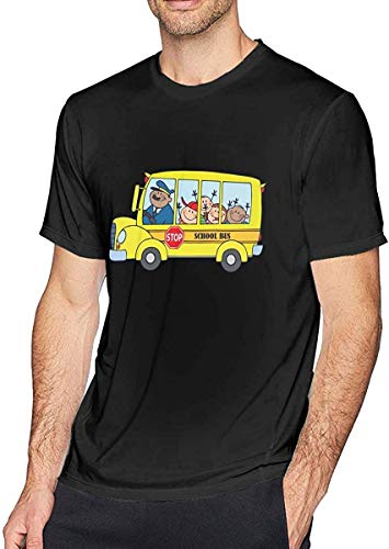 Gsdgjgg Men's School Bus T-Shirt Short Sleeve Tee,Personality,Small Black