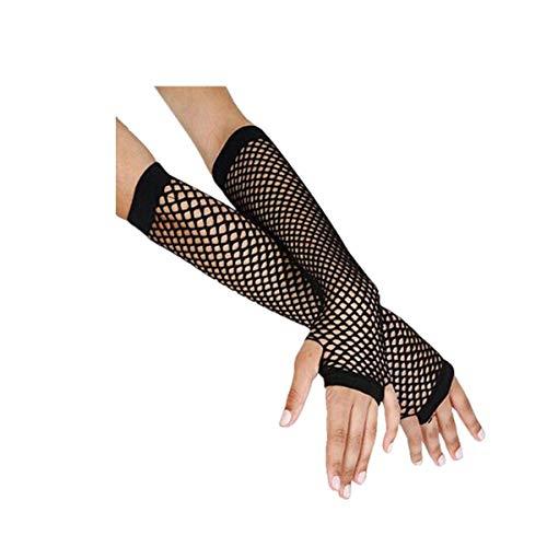 Frauen lange sexy und Mode Fischnetz Mesh Handschuhe VENMO Nylon Spitze Fingerless mit Finger Loop Punk Goth Lady Disco Tanz Kostüm Zubehör 80\'s Style (Schwarz)