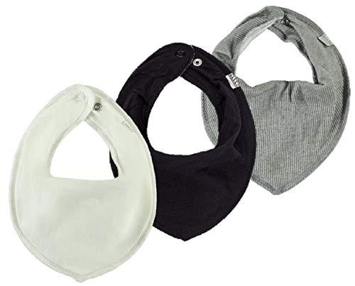NAME IT * verschiedene * 3er Set UNI Baby Dreieckstücher Halstuch Lätzchen 3 Stück (weiß-grau-schwarz)