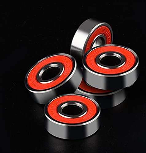 kengbi Rodamientos de Doble Caucho. 4pcs 608 Skate Scooter Skateboard Wheels Rodamientos de Repuesto Rodillo de Bola Ejes de precisión de Acero 608RS ABEC 9 (Color : Red, Inner Diameter : 8mm)