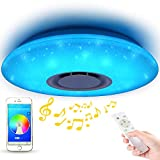 LED Starlight Music Ceiling Light with Bluetooth Speaker - MUMENG 36W Brightness Dimmable and Color Changing via Cellphone and Remote Control Ceiling Lamp for Living Room, Bedroom