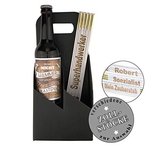 2-teiliges Geschenkset Geburtstag/Bier/Vatertag/Zollstock zum auswählen/Geburtstag/Papa/Mann/Handwerker/Männer, Zollstöcke:-Thomas