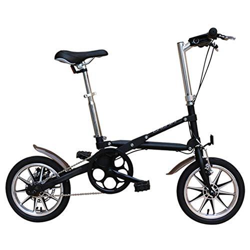 DJYD Erwachsene Falträder, 14-Zoll-Mini-Disc Brake Faltbare Fahrrad, Männer Frauen High-Carbon Stahl Super Compact Verstärkter Rahmen Pendler Fahrrad, Schwarz, Single Speed FDWFN