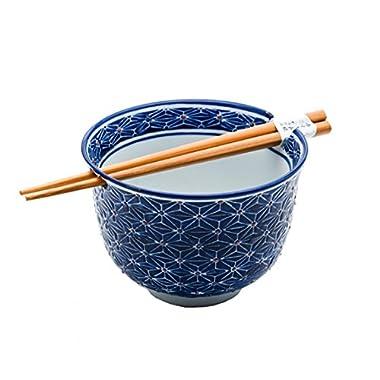 Happy Sales Ramen Udong Noodle Soup Cereal Bowl w/ Chopsticks (Henna)
