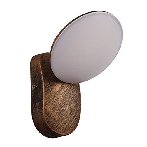 KAYIMAN 12W Lámpara de pared LED para exteriores de latón antiguo rusticos luz pared interior para exterior interior vintage rústica apliques vintage industrial [Clase energética A +]