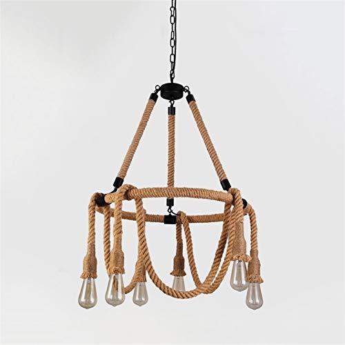 Illuminazione pendente in sospensione coperta Lampada a sospensione di canapa vintage lampada a sospensione 6 testa lampadario diametro 23.6 pollici anello industriale soffitto appeso luce E27 Base il
