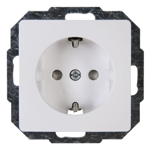 Kopp Paris 6x 1-fach für den Haushalt, 250V (16A), IP20, Schutzkontakt-Steckdose mit erhöhtem Berührungsschutz, Unterputz, einfache Wandmontage, arktis, 920602087, 1 Stück