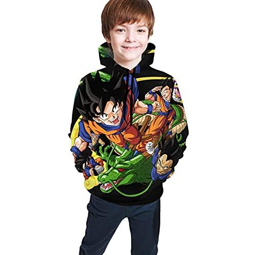 Dra gon-Ball-Goku - Sudaderas con capucha para adolescentes con impresión 3D, unisex, para niños/niñas/adolescentes/niños (7-20 años) color negro