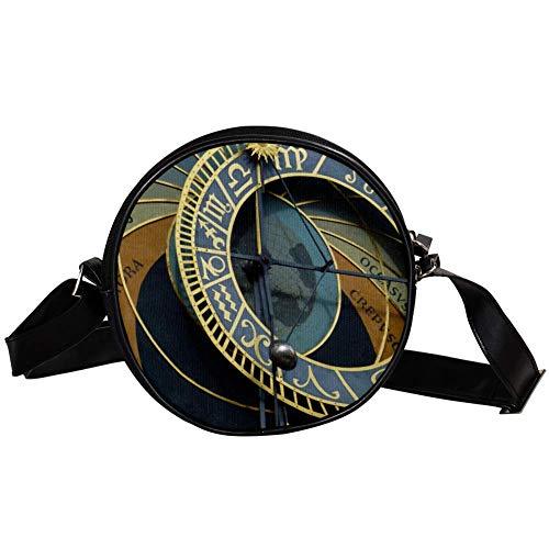 Coosun Prag, astronomische Uhr, runde Umhängetasche, Schultertasche, Handtasche, Geldbörse, Umhängetasche für Kinder und Frauen