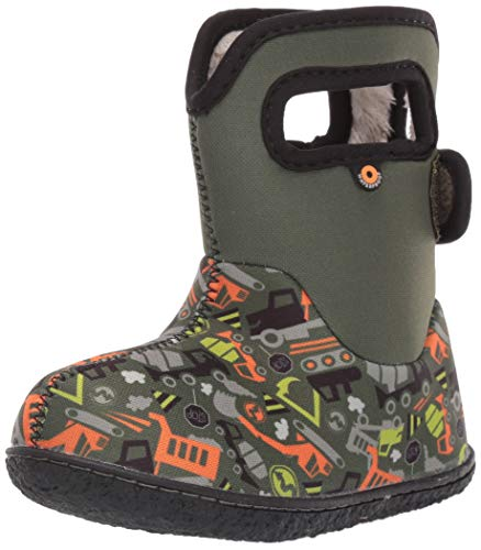 BOGS Baby Waterproof Insulated Snow and Rain Boot for Boys and Girls, Construction - Green Multi, 4 M