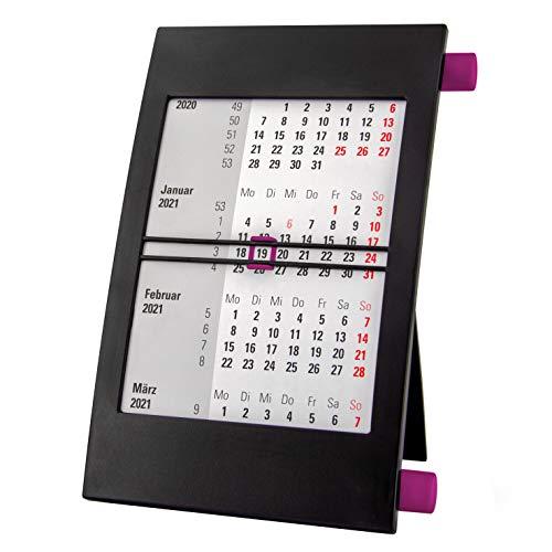 Truento 3-Monats-Tischkalender für 2 Jahre (2021 & 2022) - mit Drehmechanik - schwarz/lila