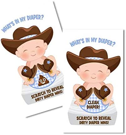 What s In My Diaper Baby Shower Scratch Off Game Cowboy 24 Cards 1 Winner Baby Shower Games product image