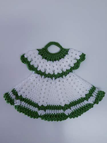Agarradera de olla o Adorno de cocina Vestido Blanco/Verde