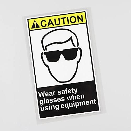 YLZH Etiqueta engomada del coche del color 9.1CM×15.6CM desgaste gafas de seguridad cuando se utiliza equipo etiqueta engomada del coche etiqueta engomada del logotipo