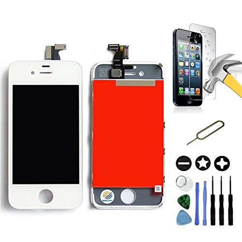 Mobilevie - Schermo LCD Retina + Vetro Touch su Telaio, per iPhone 4S, Colore: Bianco + Strumenti