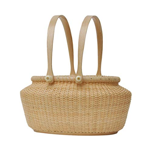 Best Bargain LiLi_Shop Picnic Baskets Fruit Basket Outdoor Picnic Fruit Basket Fruit Basket Rattan O...