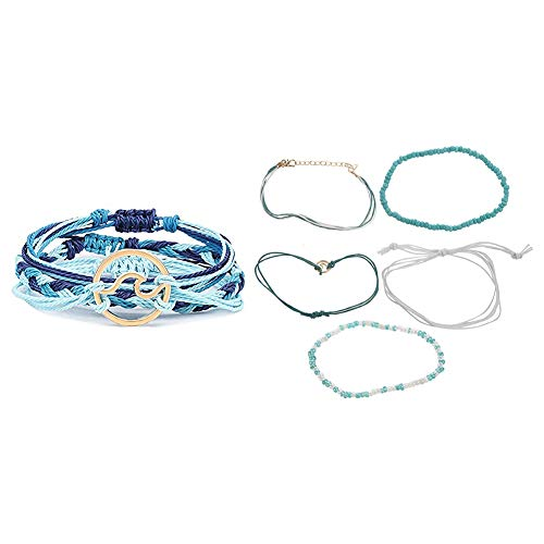 SODIAL 3 Pcs Summer Surfer Wave Bracelet Adjustable Friendship Bracelet & 5 Pcs Beach Blue Green Rope Wave Pendant Anklets