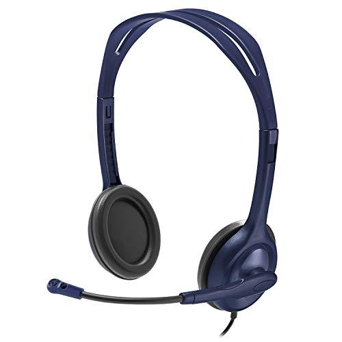 Logitech Kit Cuffie Cablate, Cuffie Stereo con Microfono, Jack Audio 3.5 mm, Limite Volume 85 dB, 5 Cuffie per Set, PC Mac Laptop Tablet, Blu