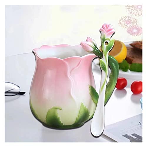 YUANLIN porzellantasse Europäischer Stil email Keramik Kaffee Tasse kreative 3D Rose Blume Form teacups Pastorale 4 Farben frühstück Milch Cups mit löffel porzellantasse Bone China (Color : Pink)